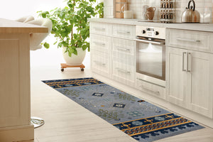 ODIN BLUE Kitchen Mat By Terri Ellis