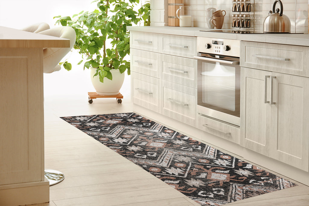 JESSA BLACK AND CREAM DISTRESSED Kitchen Mat By Terri Ellis