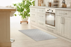 SALON LIGHT GREY Kitchen Mat By Becky Bailey