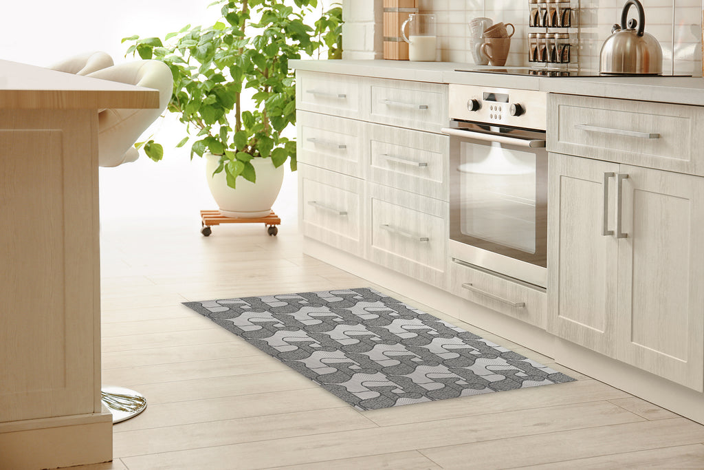 RIBBON CHARCOAL Kitchen Mat By Becky Bailey