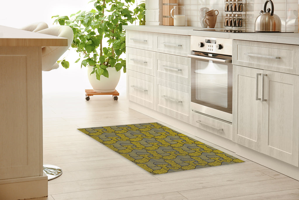 RIBBON YELLOW Kitchen Mat By Becky Bailey