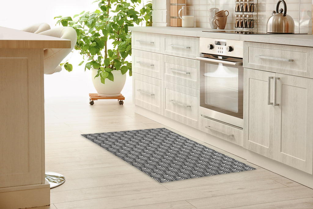 SYNC BLACK & WHITE Kitchen Mat By Becky Bailey