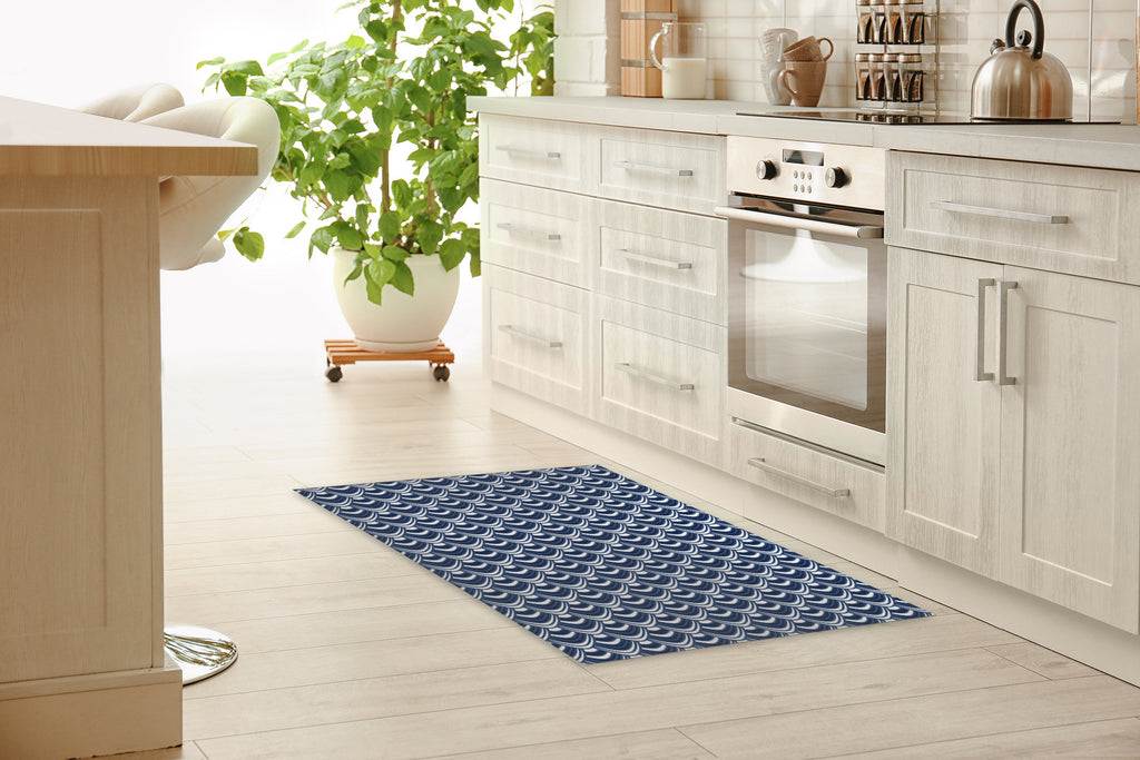 SYNC NAVY Kitchen Mat By Becky Bailey