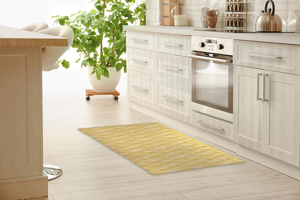 WAVE RIDE GOLD Kitchen Mat By Becky Bailey
