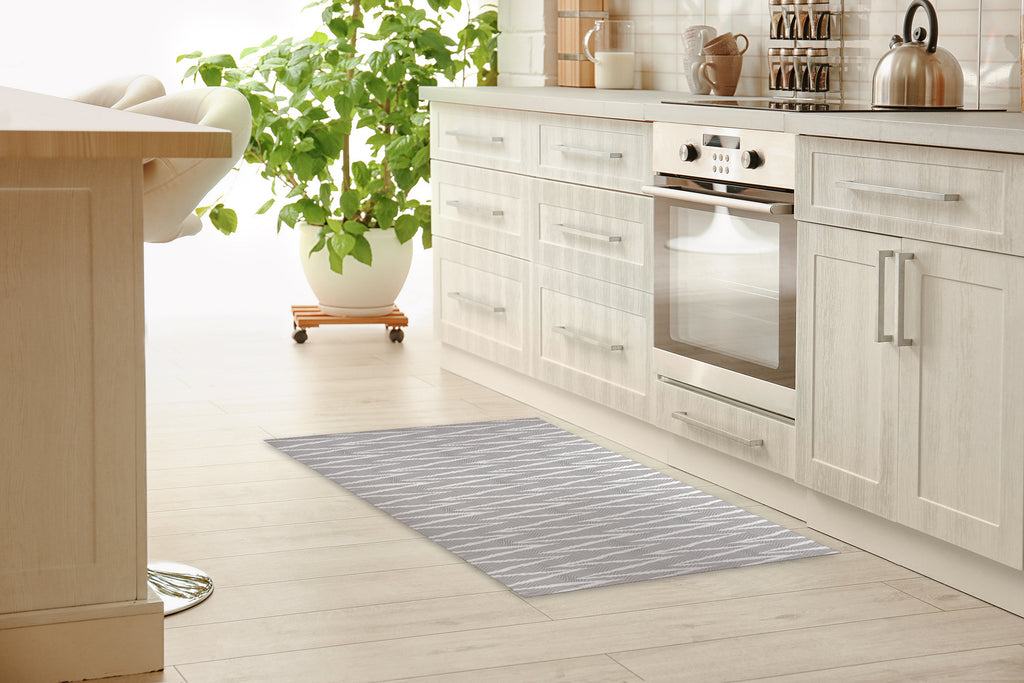 WAVE RIDE GREY Kitchen Mat By Becky Bailey