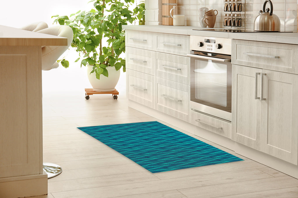 WAVE RIDE TEAL Kitchen Mat By Becky Bailey
