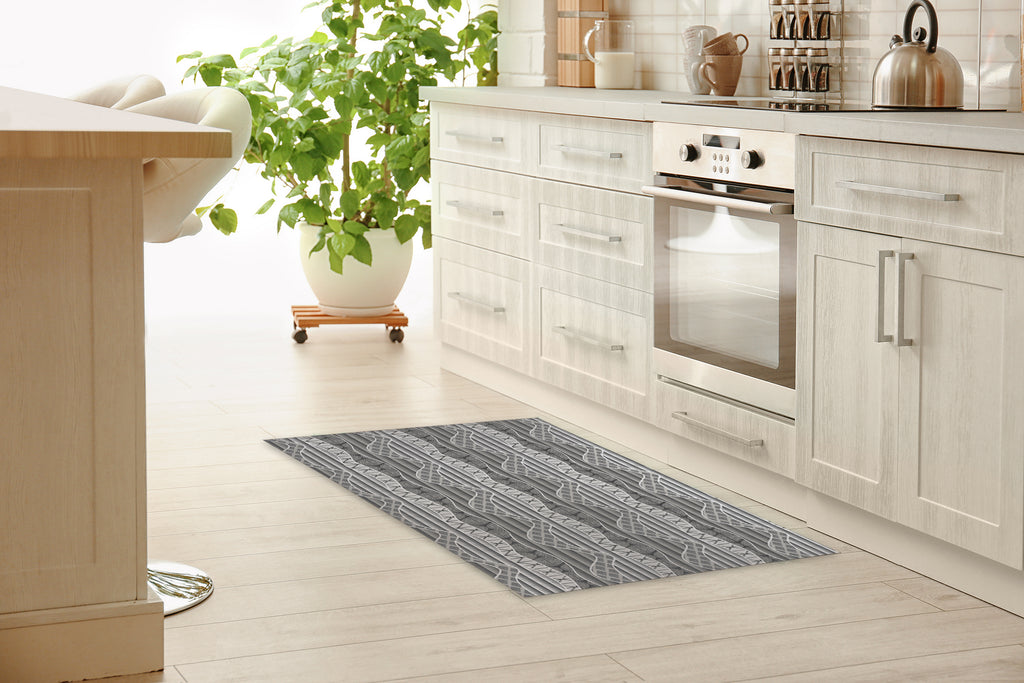 WRAP GREY  Kitchen Mat By Becky Bailey