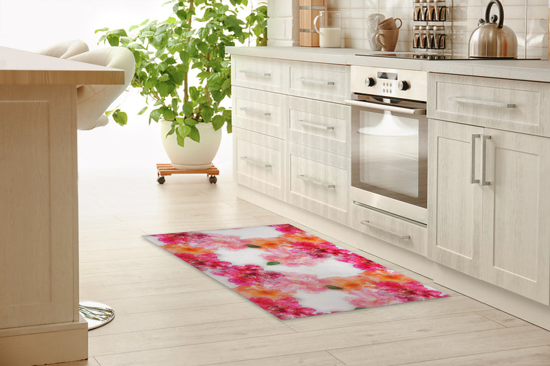 FLORAL BLOOM PINK AND ORANGE Kitchen Mat By Jackii Greener