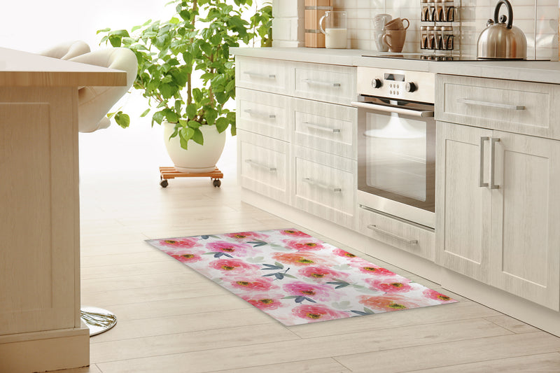 FLORAL LOVE PINK Kitchen Mat By Jackii Greener