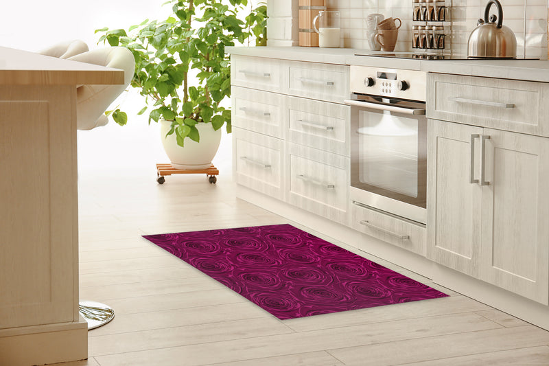 BED OF ROSES PLUM FLAT Kitchen Mat By Terri Ellis