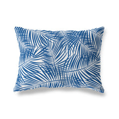 PALM PLAY BLUE ON WHITE Lumbar Pillow By Terri Ellis
