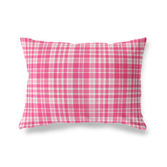 PLAYFUL PLAID PINK Lumbar Pillow By Terri Ellis