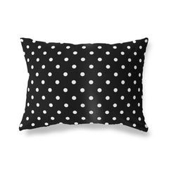 POLKA DOTS BLACK Lumbar Pillow By Terri Ellis