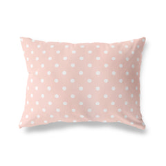 POLKA DOTS BLUSH Lumbar Pillow By Terri Ellis