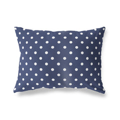 POLKA DOTS NAVY Lumbar Pillow By Terri Ellis