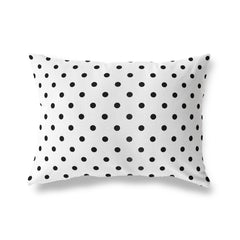 POLKA DOTS WHITE Lumbar Pillow By Terri Ellis