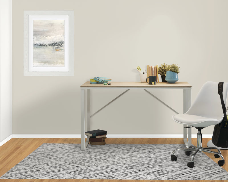 WATERCOLOR CRISS CROSS B+W Office Mat By Becky Bailey