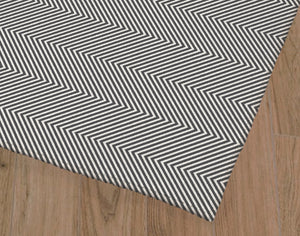 DEEP CHEVRON DARK GREY Office Mat By Becky Bailey