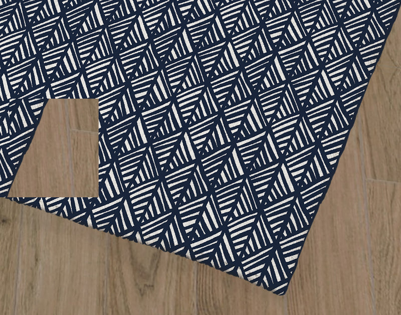 ABSTRACT LEAF NAVY Office Mat By Becky Bailey
