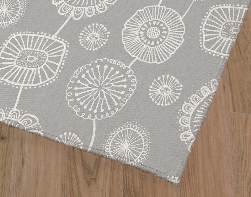 DOODLE FLORAL GREY Office Mat By Becky Bailey