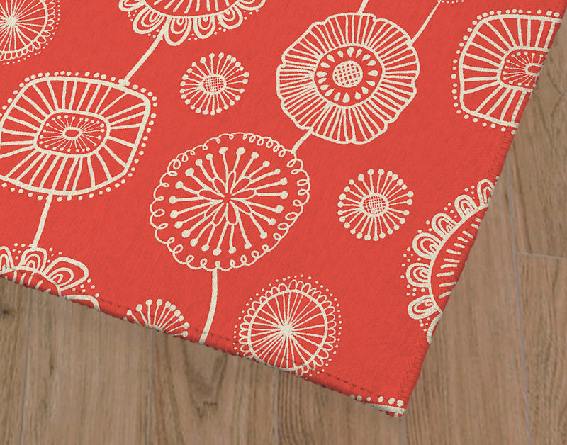 DOODLE FLORAL RED Office Mat By Becky Bailey