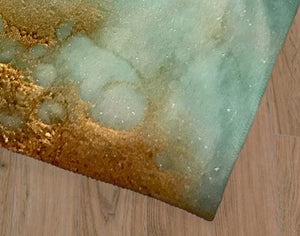 AQUA AND GOLD Office Mat By Melissa Renee