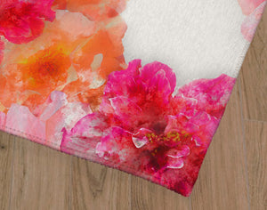 FLORAL BLOOM PINK AND ORANGE Office Mat By Jackii Greener