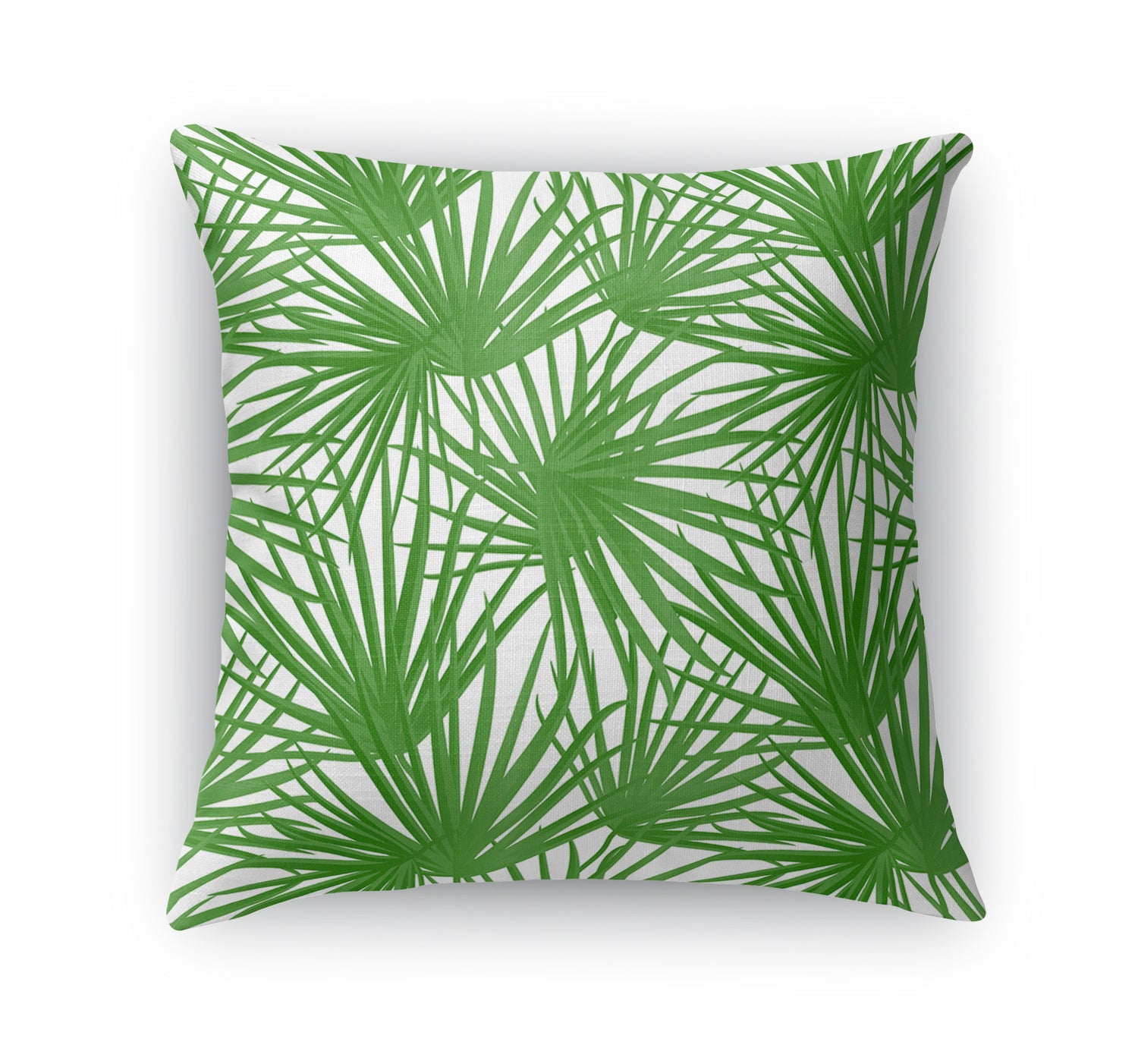 PALM BALM GREEN ON WHITE Indoor|Outdoor Pillow By Terri Ellis