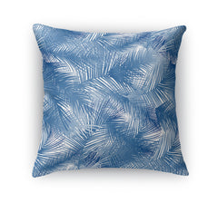PALM CHEER BLUE Indoor|Outdoor Pillow By Terri Ellis