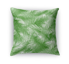 PALM CHEER GREEN ON WHITE Indoor|Outdoor Pillow By Terri Ellis