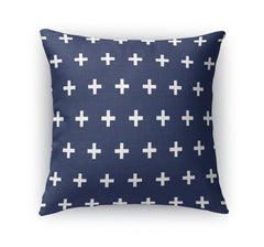 CRISS CROSS NAVY Indoor|Outdoor Pillow By Terri Ellis