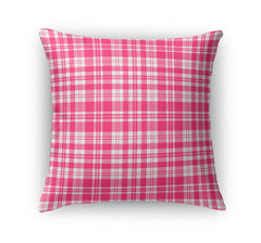 PLAYFUL PLAID PINK Indoor|Outdoor Pillow By Terri Ellis