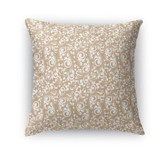 PLUMERIA TAN Indoor|Outdoor Pillow By Terri Ellis