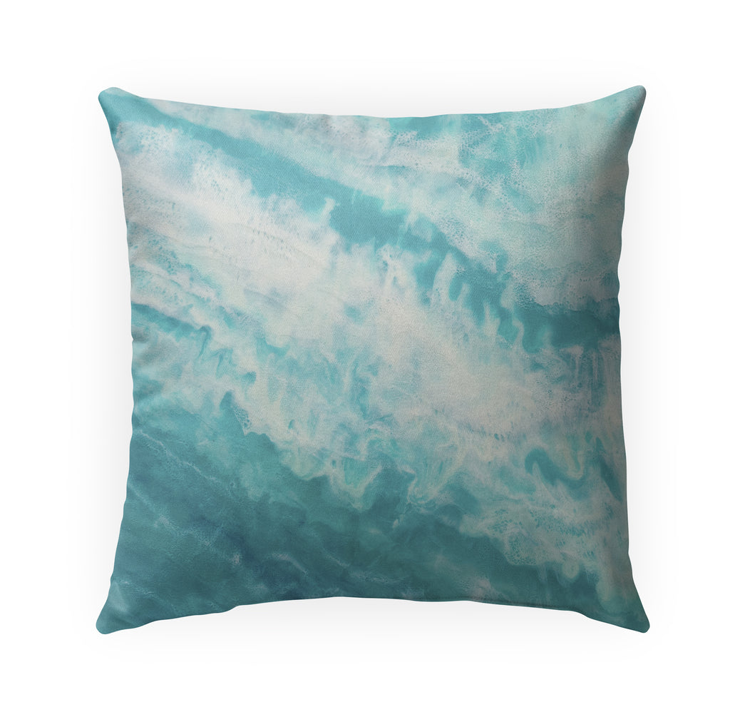 TEAL TIDES Indoor|Outdoor Pillow By Christina Twomey