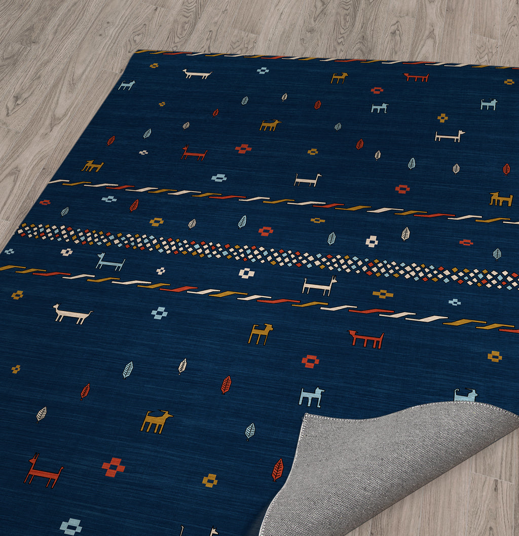 KEELUT GABBEH BLUE Area Rug By Becky Bailey