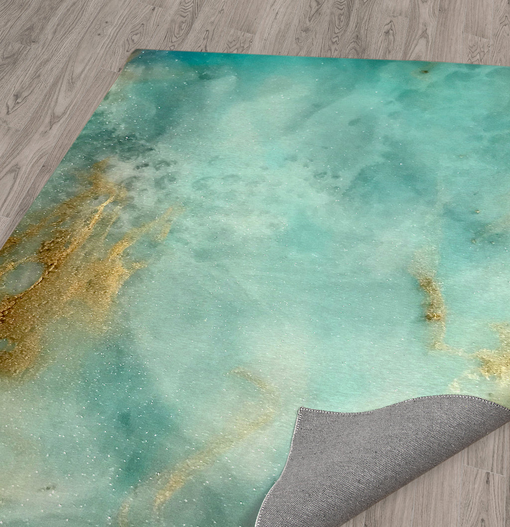 AQUA AND GOLD HIRES Area Rug By Melissa Renee