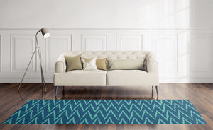 WAVE RIDE TEAL Area Rug By Becky Bailey