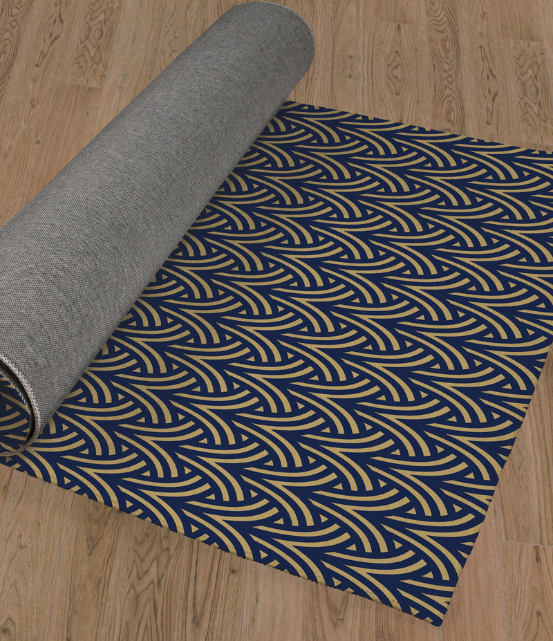 ZELDA NAVY & GOLD Area Rug By Becky Bailey