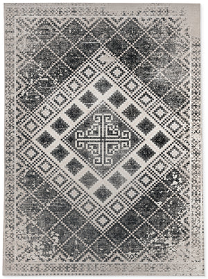 ADILAND BLACK AND WHITE DISTRESSED Area Rug By Terri Ellis