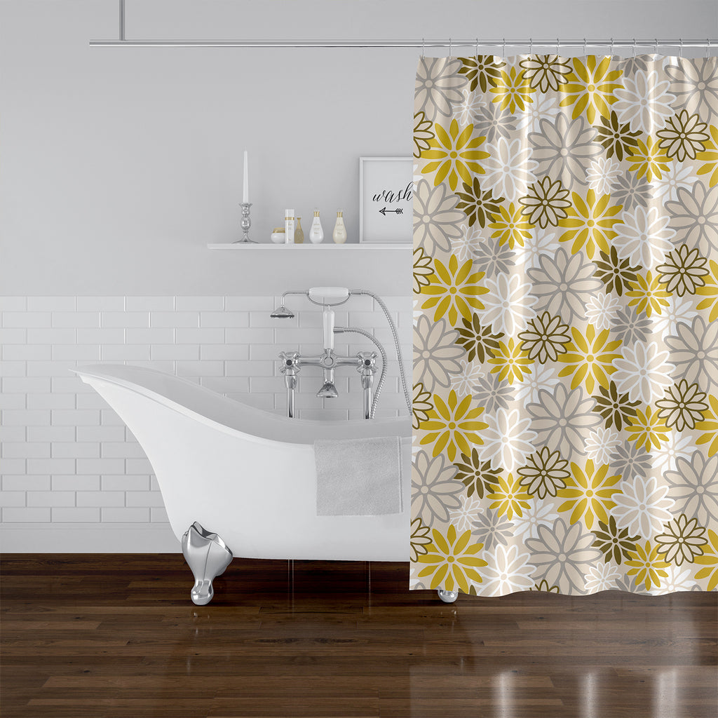 BEATNIK FLORAL YELLOW Shower Curtain By Becky Bailey
