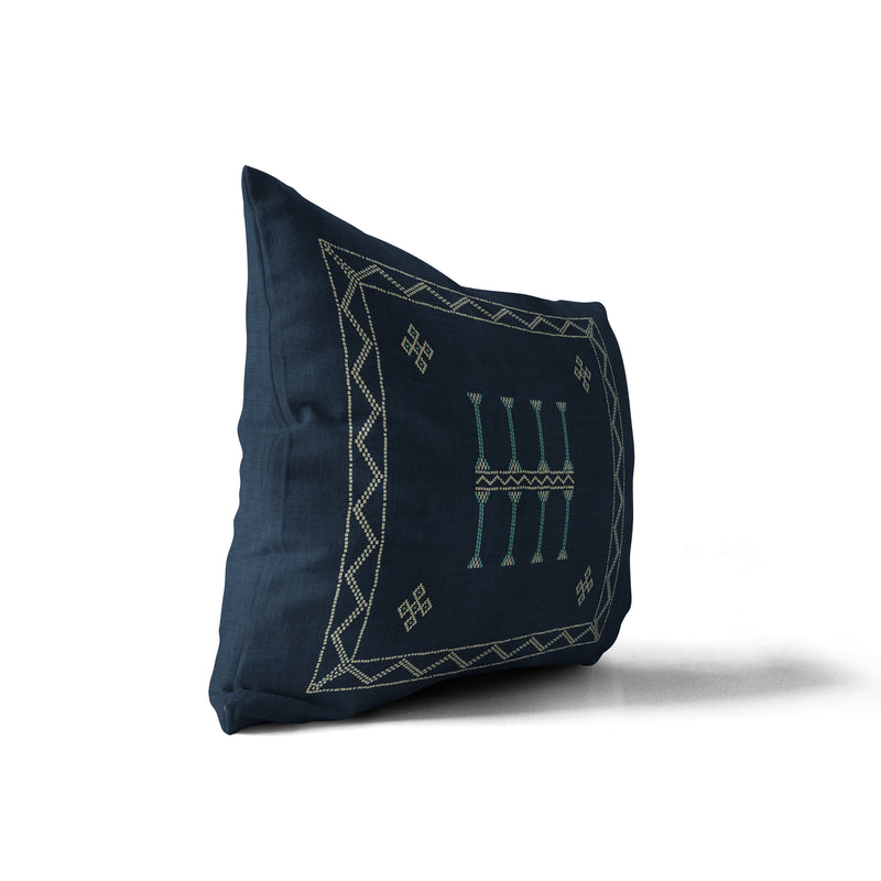 AMULET KILIM NAVY Indoor|Outdoor Lumbar Pillow By Becky Bailey