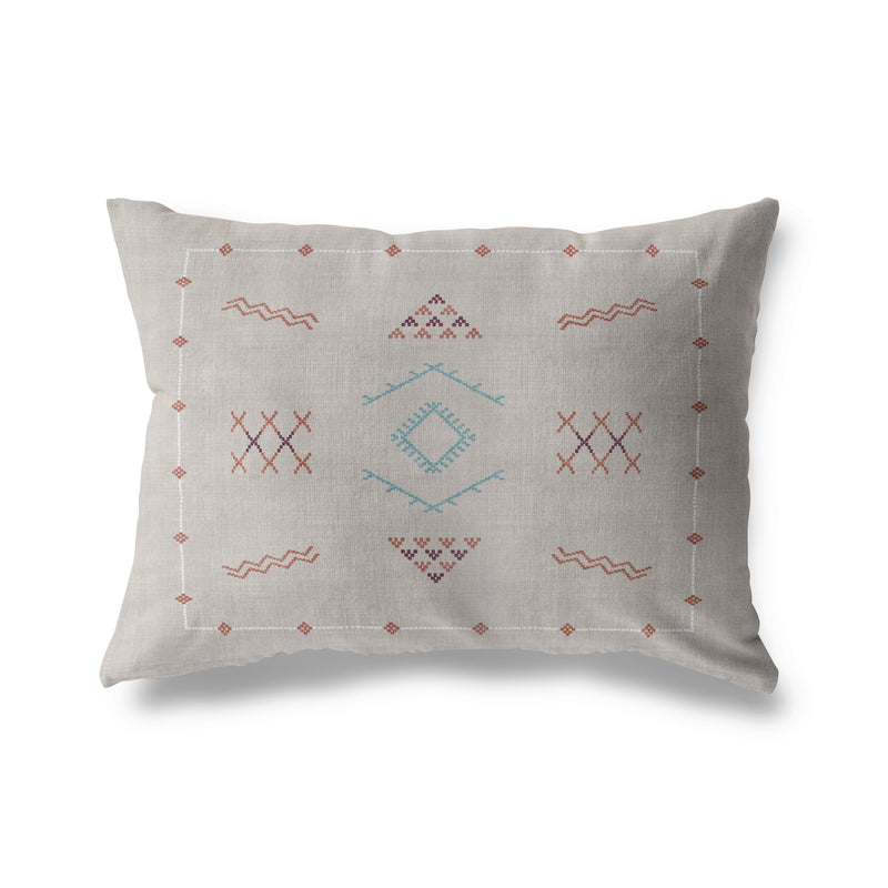 MARRAKESH KILIM LIGHT GREY Indoor|Outdoor Lumbar Pillow By Becky Bailey