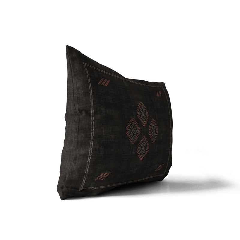 KILIM BLACK Indoor|Outdoor Lumbar Pillow By Becky Bailey
