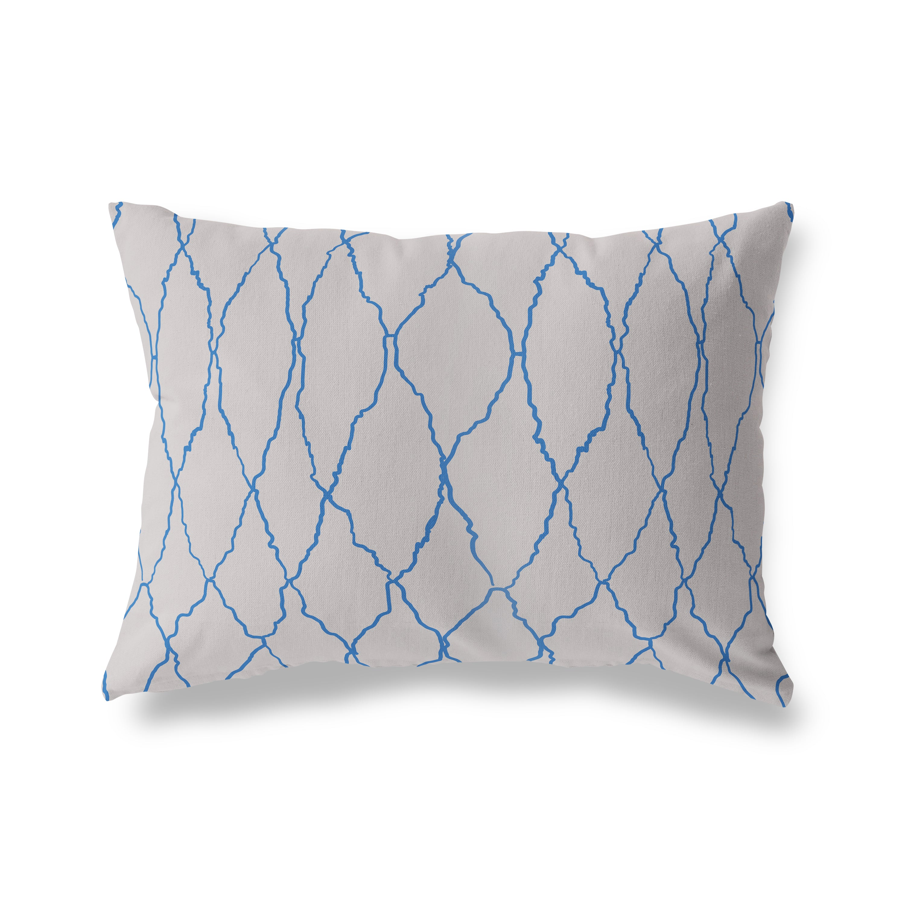 AZILAL DIAMOND WEAVE COBALT Indoor|Outdoor Lumbar Pillow By Becky Bailey