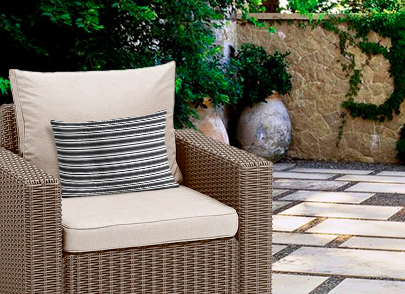CLASSIC STRIPE BW Indoor|Outdoor Lumbar Pillow By Becky Bailey