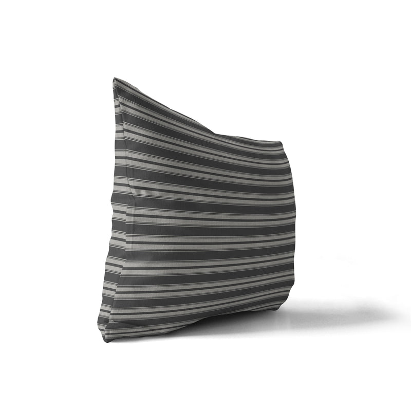 CLASSIC STRIPE CHARCOAL SMALLSCALE Indoor|Outdoor Lumbar Pillow By Becky Bailey