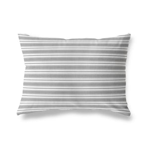 CLASSIC STRIPE GREY SMALL SCALE Indoor|Outdoor Lumbar Pillow By Becky Bailey