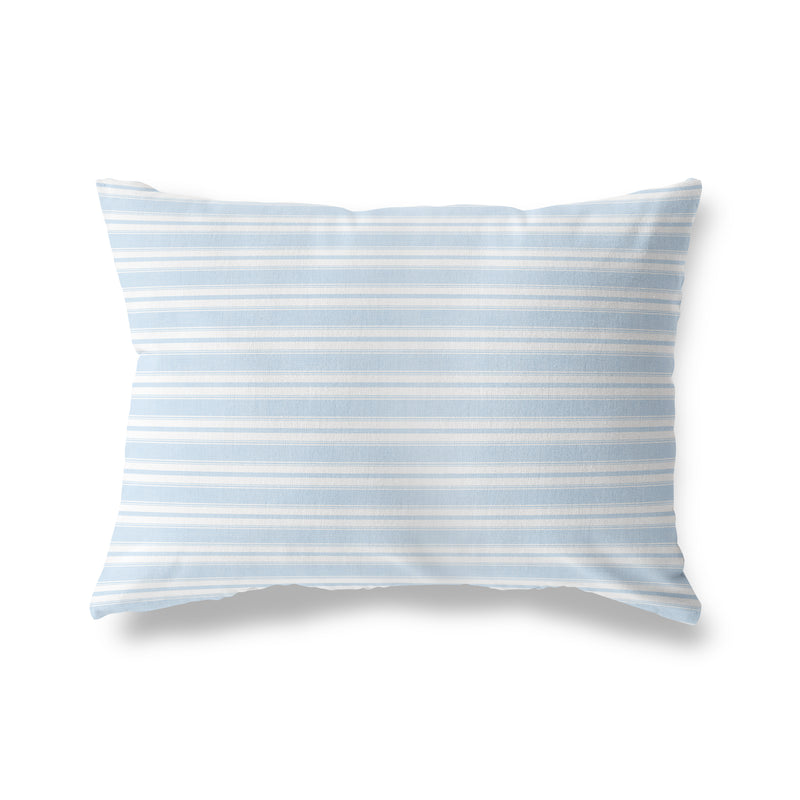 CLASSIC STRIPE POWDER BLUE Indoor|Outdoor Lumbar Pillow By Becky Bailey