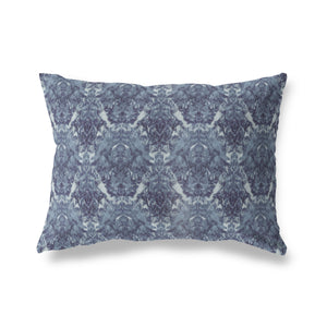 INKBLOT DAMASK INDIGO Indoor|Outdoor Lumbar Pillow By Becky Bailey