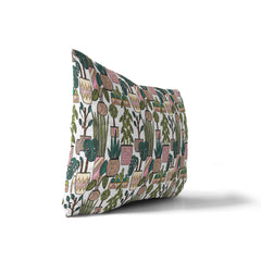 SEVENTIES PLANT PATTERN Indoor|Outdoor Lumbar Pillow By Michelle Parascandolo